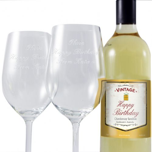 Personalised Birthday White Wine and Two Glasses